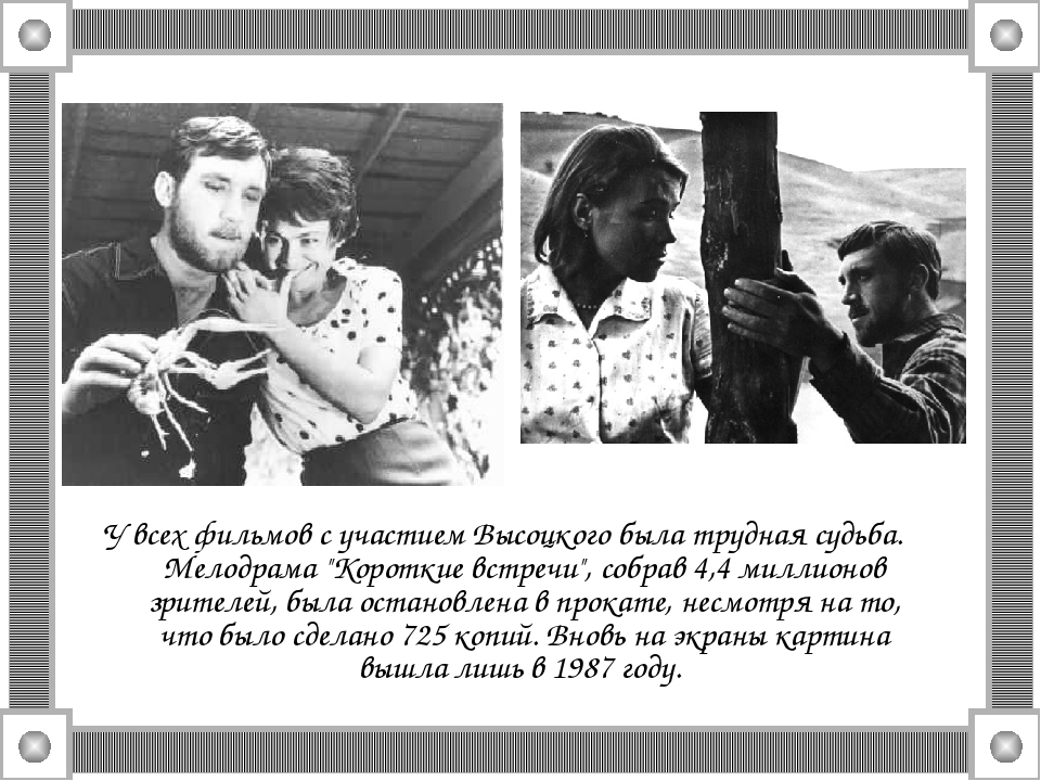 """У всех фильмов с участием Высоцкого была трудная судьба. Мелодрама """"Короткие..."""