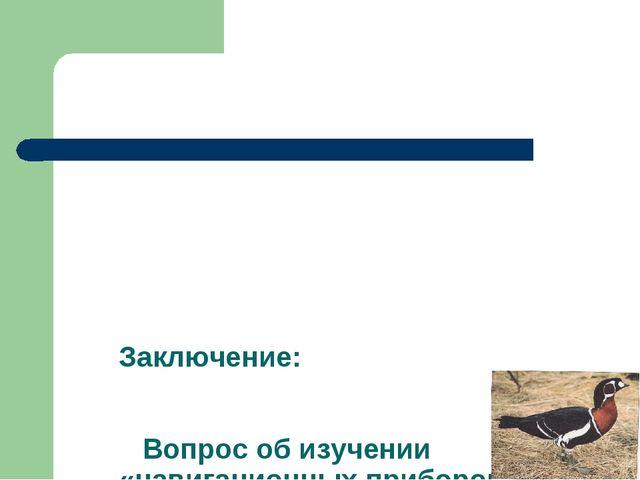 Заключение: Вопрос об изучении «навигационных приборов» птиц остается открыт...