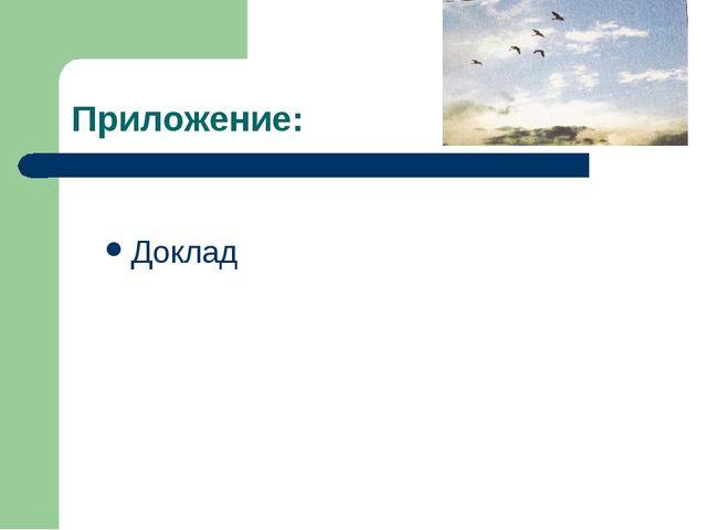 Приложение: Доклад
