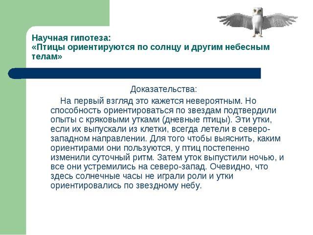 Научная гипотеза: «Птицы ориентируются по солнцу и другим небесным телам» Док...
