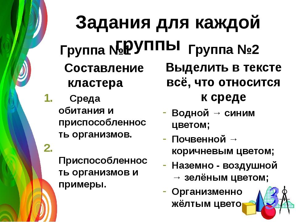 Задания для каждой группы Группа №1 Составление кластера Среда обитания и пр...