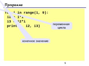 Программа for i in range(1, 9): i2 = i*i i3 = i2*i print(i, i2, i3) переменн