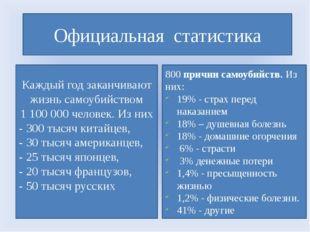 Официальная статистика Каждый год заканчивают жизнь самоубийством 1 100 000 ч