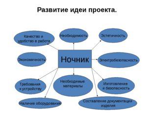 Развитие идеи проекта. Ночник Необходимость Эстетичность Электробезопасность