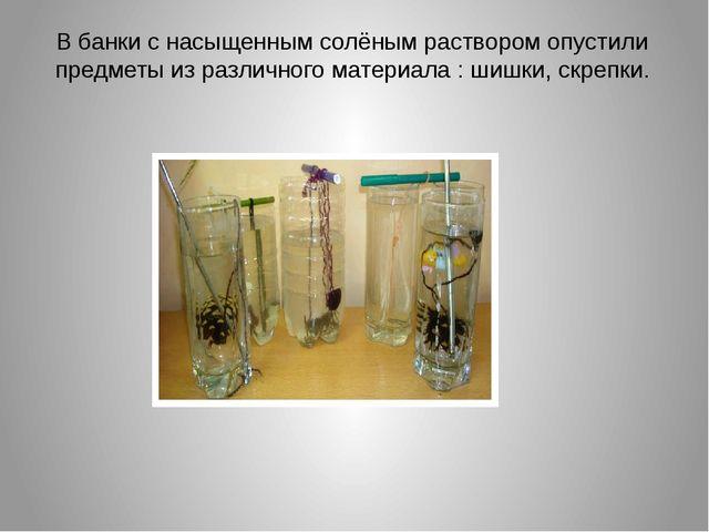 В банки с насыщенным солёным раствором опустили предметы из различного матери...