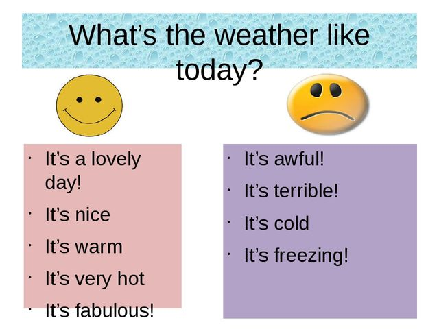 What's the weather like today? It's a lovely day! It's nice It's warm It's ve...