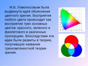 М.В. Ломоносовым была выдвинута идея объяснения цветного зрения. Восприятие