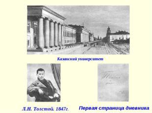 Казанский университет Л.Н. Толстой. 1847г. Первая страница дневника