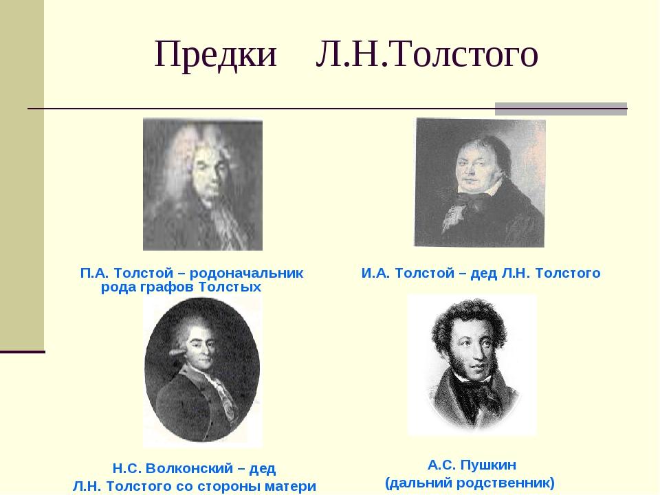Предки Л.Н.Толстого П.А. Толстой – родоначальник рода графов Толстых И.А. Тол...