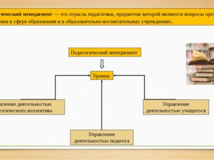 Педагогический менеджмент — это отрасль педагогики, предметом которой являютс