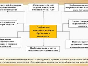 Особенности менеджмента в сфере образования и воспитания Наличие ряда местных