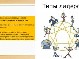 Для успешного обеспечения целостного образовательного процесса руководитель д