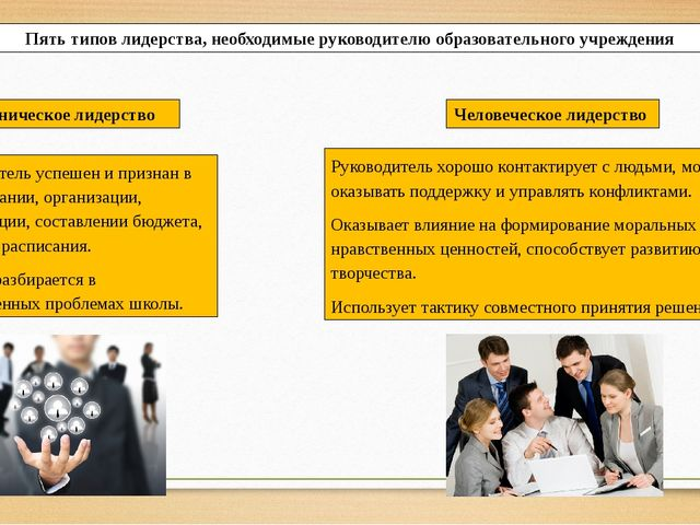Пять типов лидерства, необходимые руководителю образовательного учреждения Ру...