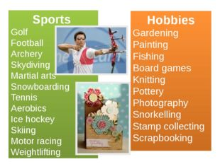 Sports Golf Football Archery Skydiving Martial arts Snowboarding Tennis Aerob