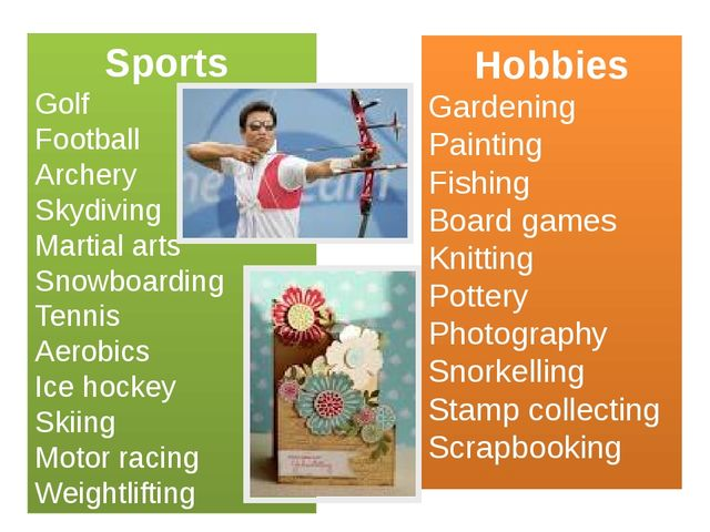 Sports Golf Football Archery Skydiving Martial arts Snowboarding Tennis Aerob...