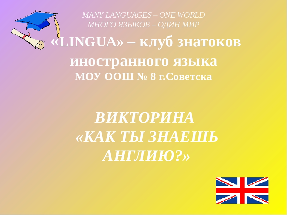 MANY LANGUAGES – ONE WORLD МНОГО ЯЗЫКОВ – ОДИН МИР  «LINGUA» – клуб знатоков...