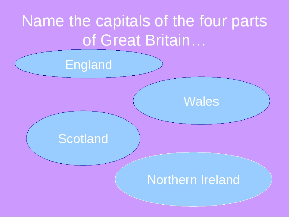Name the capitals of the four parts of Great Britain…