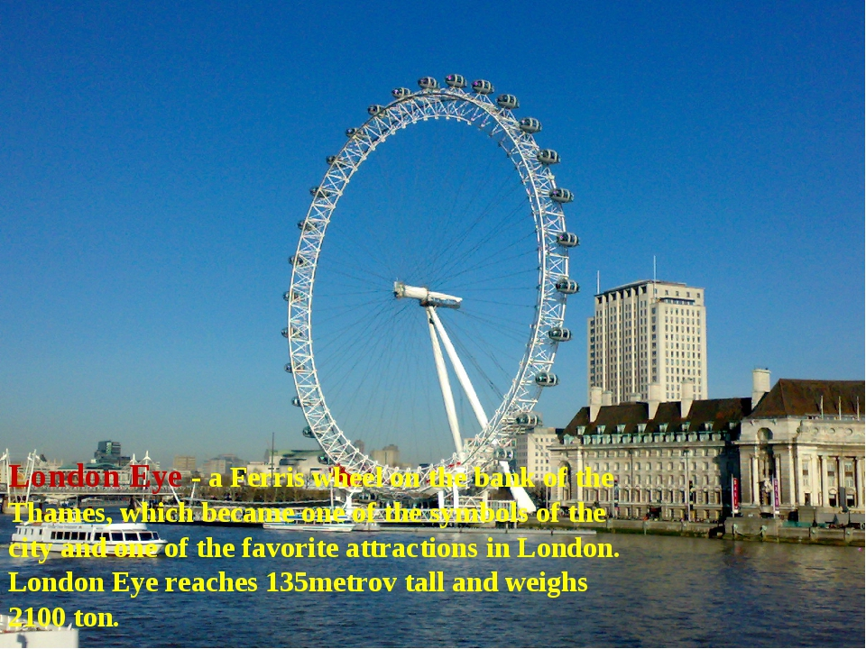 London Eye - a Ferris wheel on the bank of the Thames, which became one of t...