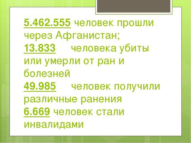 5.462.555 человек прошли через Афганистан; 13.833 человека убиты или умерли о...