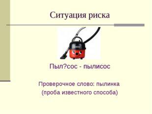 Ситуация риска Пыл?сос - пылисос Проверочное слово: пылинка (проба известного