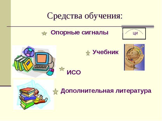 Средства обучения: Опорные сигналы ци Учебник Учебник ИСО Дополнительная лите...