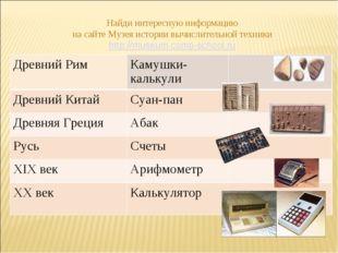 Найди интересную информацию на сайте Музея истории вычислительной техники htt