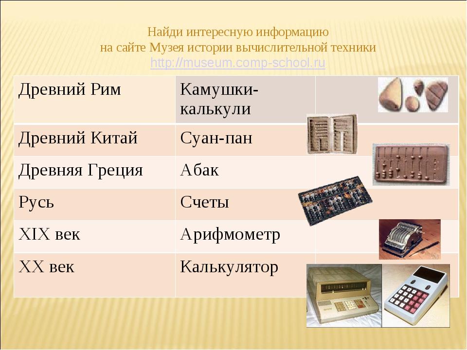 Найди интересную информацию на сайте Музея истории вычислительной техники htt...