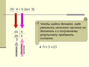 23 : 4 = 23 4 5 20 3 5 делимое делитель Неполное частное остаток Чтобы найти