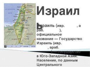 Израиль Изра́иль(ивр.יִשְׂרָאֵל,араб.إسرائيل), официальное названи
