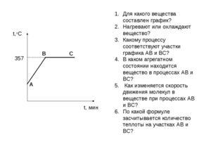 Для какого вещества составлен график? Нагревают или охлаждают вещество? Каком