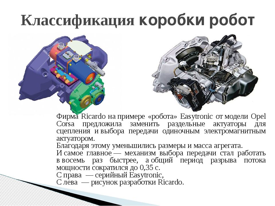 Классификация коробки робот Фирма Ricardo напримере «робота» Easytronic отм...