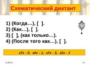 * * Схематический диктант 1) (Когда…), [ ]. 2) (Как…), [ ]. 3) [ ], (как толь