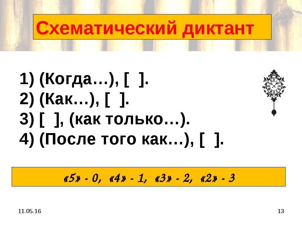 * * Схематический диктант 1) (Когда…), [ ]. 2) (Как…), [ ]. 3) [ ], (как толь...