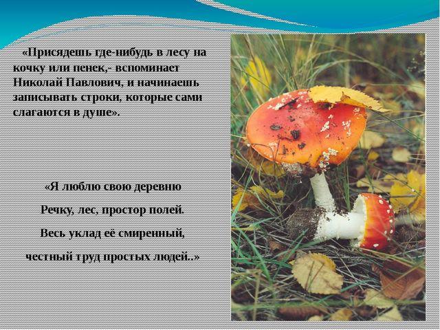 «Присядешь где-нибудь в лесу на кочку или пенек,- вспоминает Николай Павлови...