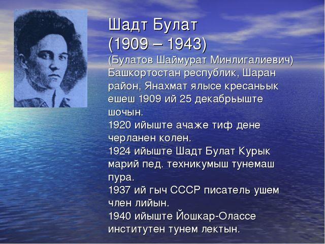 Шадт Булат (1909 – 1943) (Булатов Шаймурат Минлигалиевич) Башкортостан респуб...