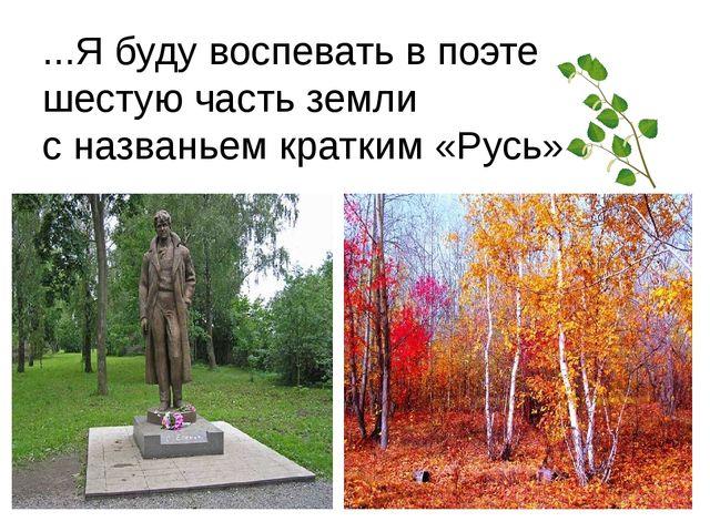 ...Я буду воспевать в поэте шестую часть земли с названьем кратким «Русь»