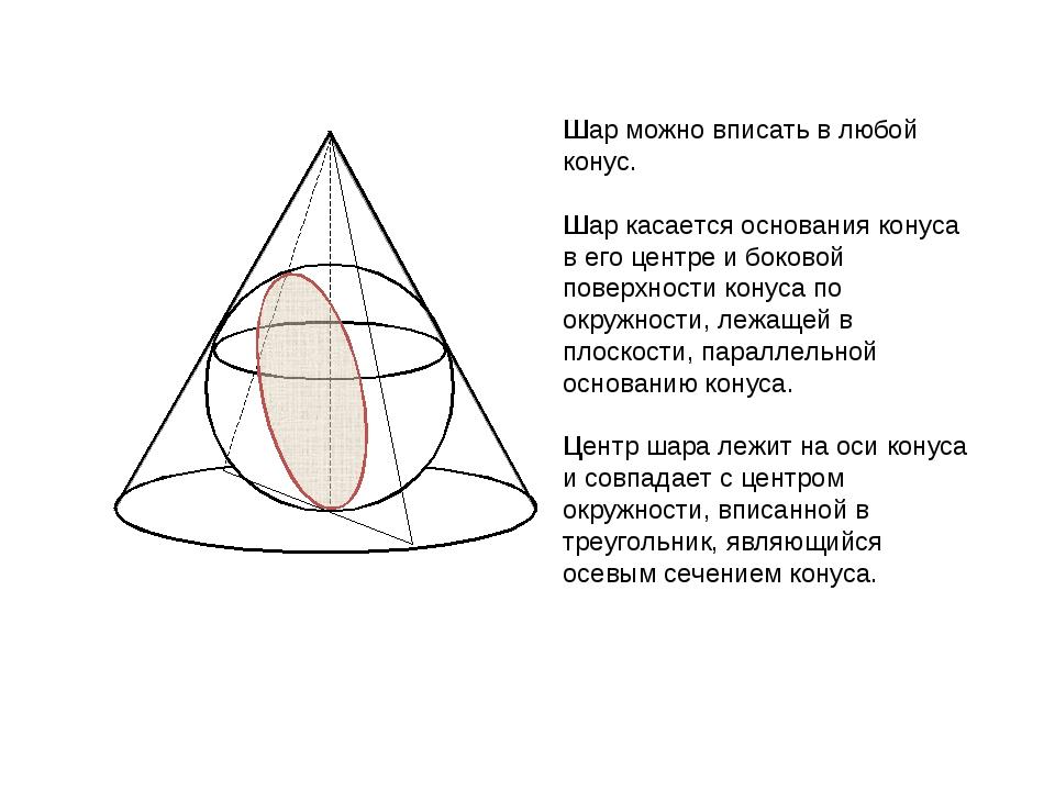 Шар можно вписать в любой конус. Шар касается основания конуса в его центре и...