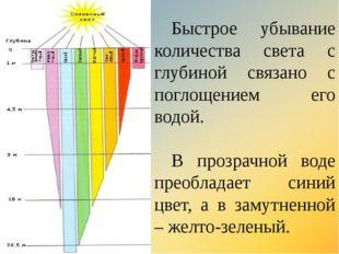 Быстрое убывание количества света с глубиной связано с поглощением его водой