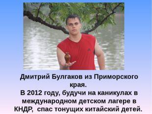 Дмитрий Булгаков из Приморского края. В 2012 году, будучи на каникулах в меж