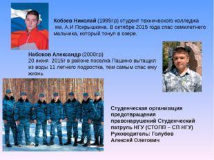 Кобзев Николай (1995г.р) студент технического колледжа им. А.И Покрышкина. В