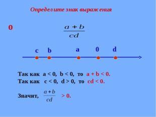 Определите знак выражения Так как a < 0, b < 0, то а + b < 0. Так как с < 0,