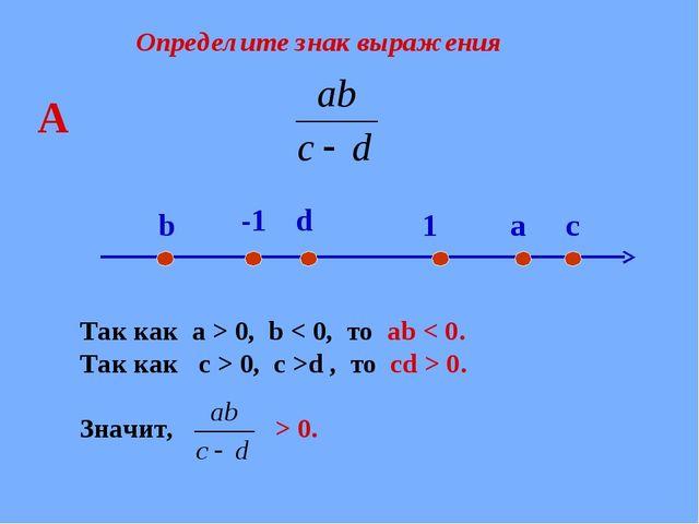 Определите знак выражения Так как a > 0, b < 0, то ab < 0. Так как с > 0, c >...