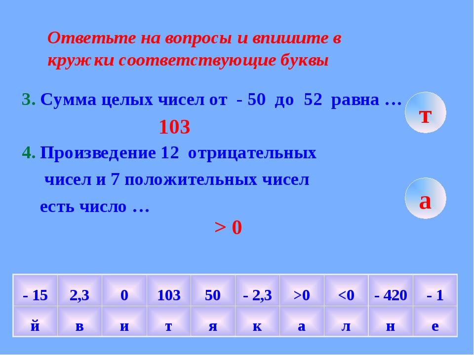 Ответьте на вопросы и впишите в кружки соответствующие буквы 3. Сумма целых ч...