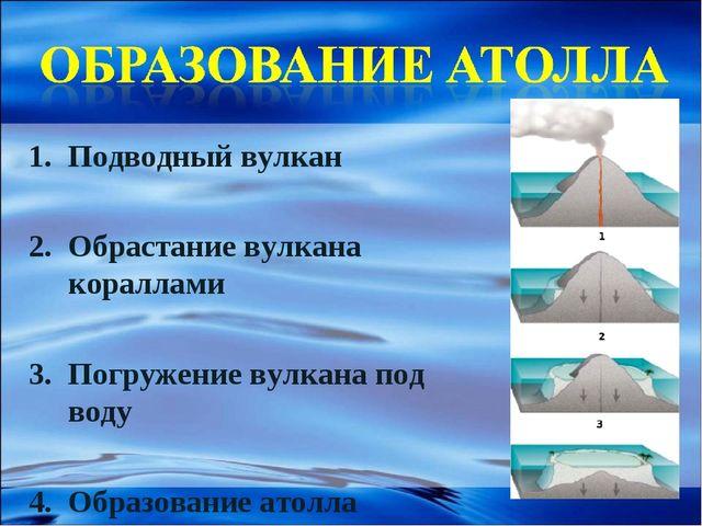 Подводный вулкан Обрастание вулкана кораллами Погружение вулкана под воду Обр...