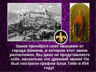 Замок приобрел свое название от города Шинона, в котором этот замок располож