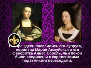 Вскоре здесь поселились его супруга, королеваМария Анжуйскаяи его фаворитк