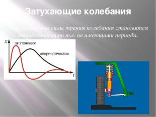Затухающие колебания При увеличении силы трения колебания становятся апериоди