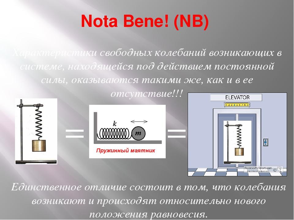 Nota Bene! (NB) Характеристики свободных колебаний возникающих в системе, нах...