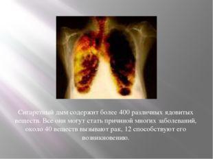 Сигаретный дымсодержит более 400 различных ядовитых веществ. Все они могут с