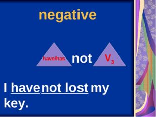 negative have/has not V3 I have not lost my key.